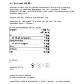 Travellunch Main Course Beef Stroganoff 10 x 125g